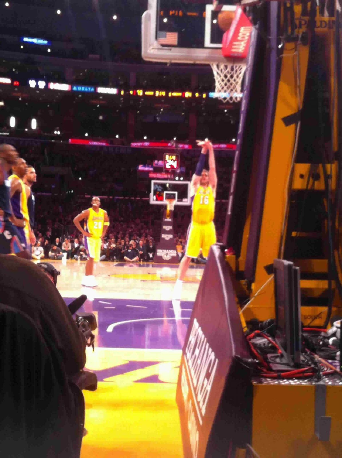 Basketball Seat View for Staples Center Section 107, Row 1, Seat A