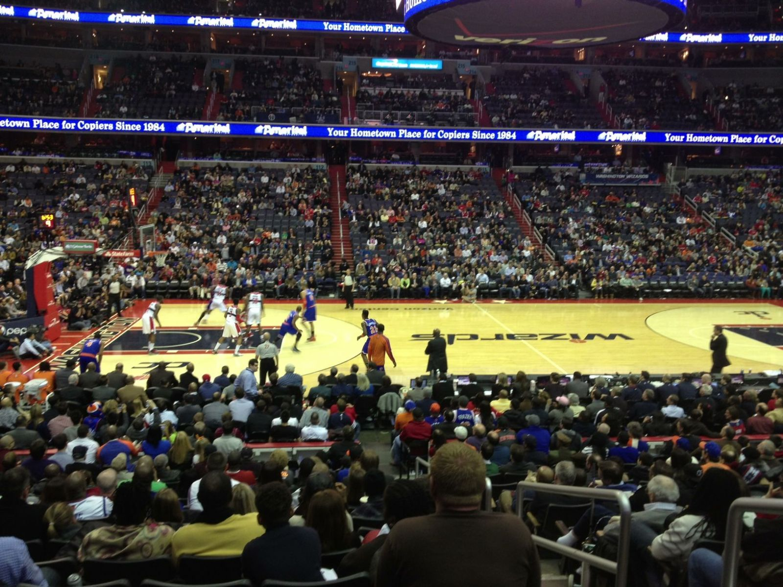 Basketball Seat View for Verizon Center Section 121, Row Q, Seat 8