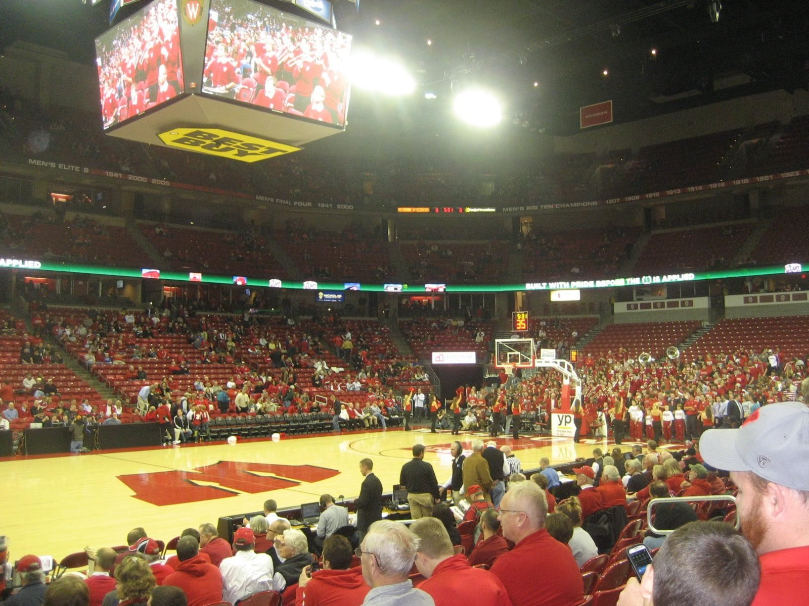Seat View for Kohl Center Section 123, Row F, Seat 15