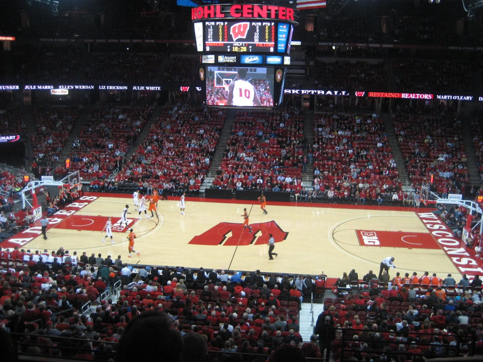 Seat View for Kohl Center Section 222, Row F, Seat 1