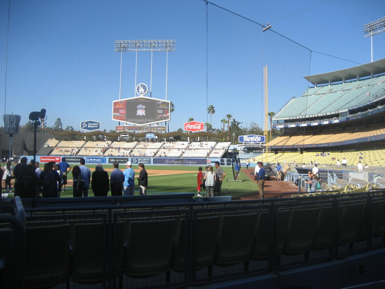 Seat View for Dodger Stadium Section 1, Row A, Seat 1