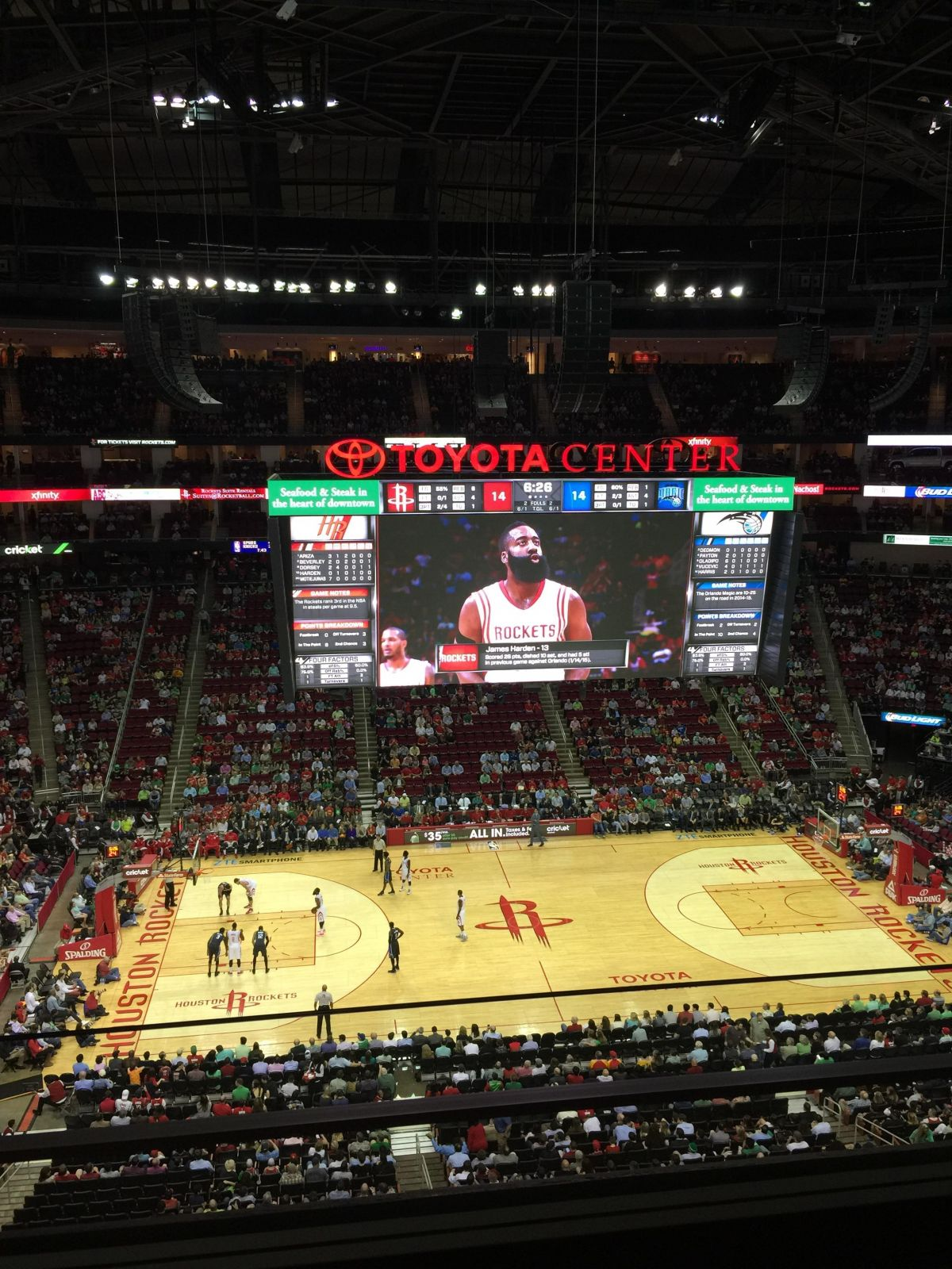 Seat View for Toyota Center Section 410, Row 2, Seat 14