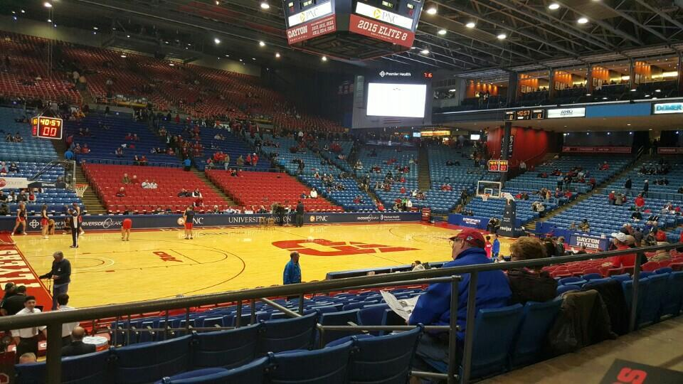 Seat View for University of Dayton Arena Section 208, Row A