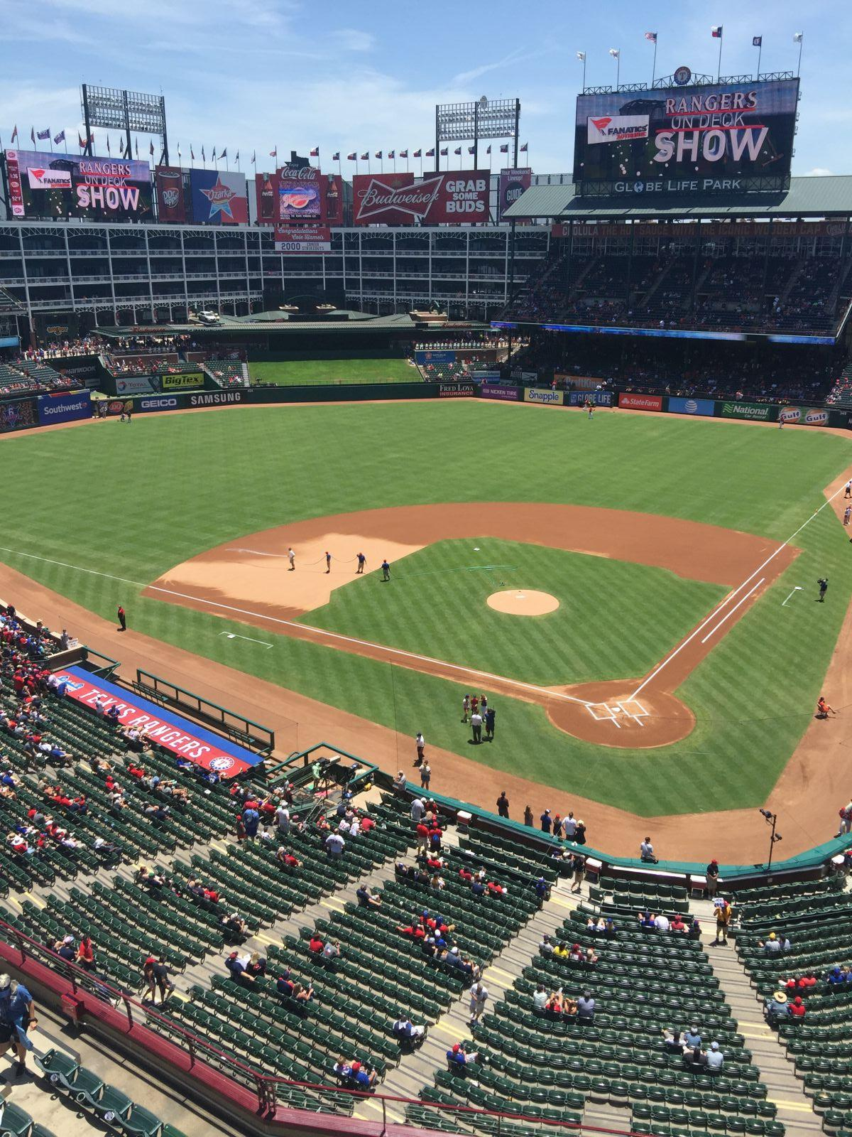 Seat View for Globe Life Park Section 324, Row 1, Seat 1
