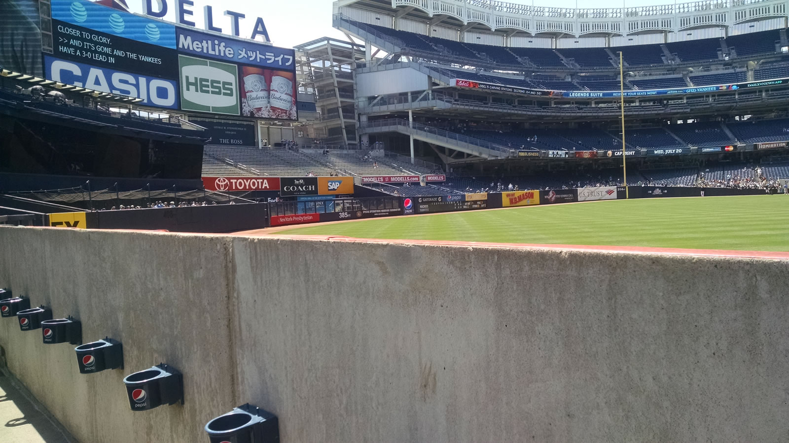 New York Yankees Seat View for Yankee Stadium Section 136, Row 1, Seat 11