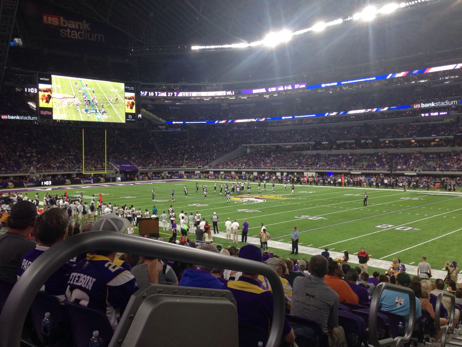 Seat View for U.S. Bank Stadium Section 105, Row 16, Seat 19