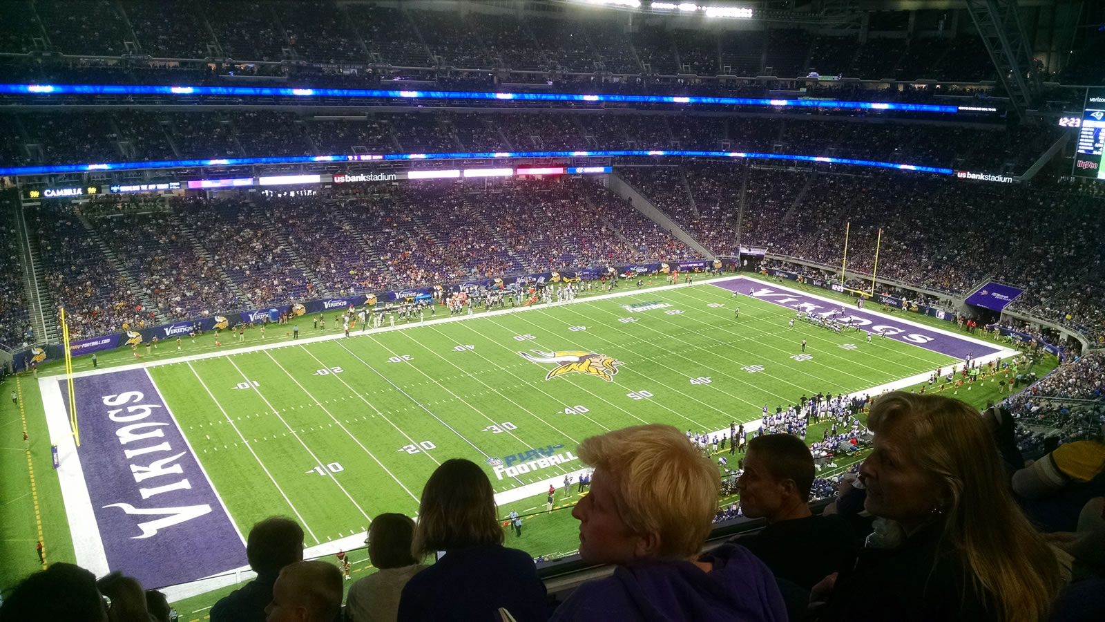 Seat View for U.S. Bank Stadium Section 345, Row E, Seat 18