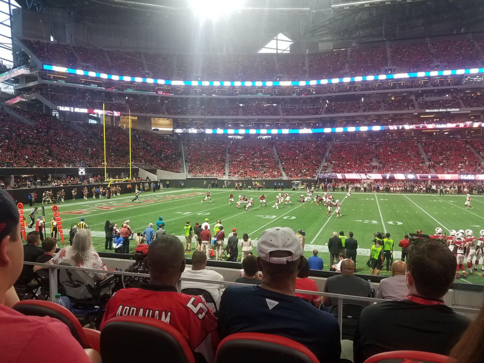 Awesome seats visitor side mercedes benz stadium club for Mercedes benz stadium suite prices
