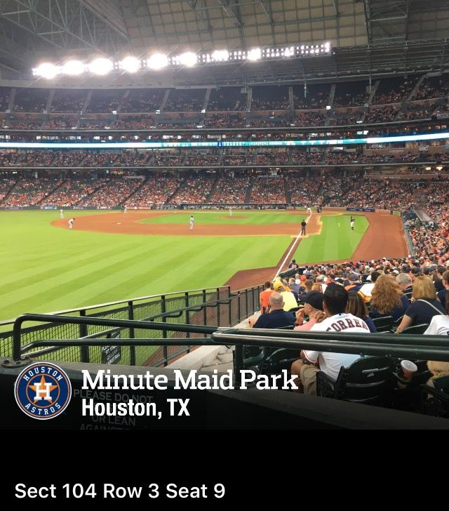 Seat View for Minute Maid Park Section 104, Row 3, Seat 9