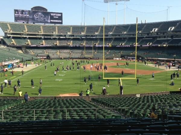 Oakland Raiders Seat View for Oakland Coliseum Section 129, Row 33