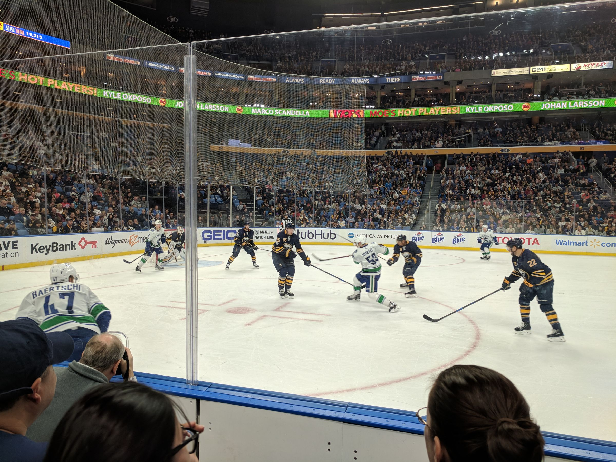 Buffalo Sabres Seat View for KeyBank Center Section 106, Row 3, Seat 20