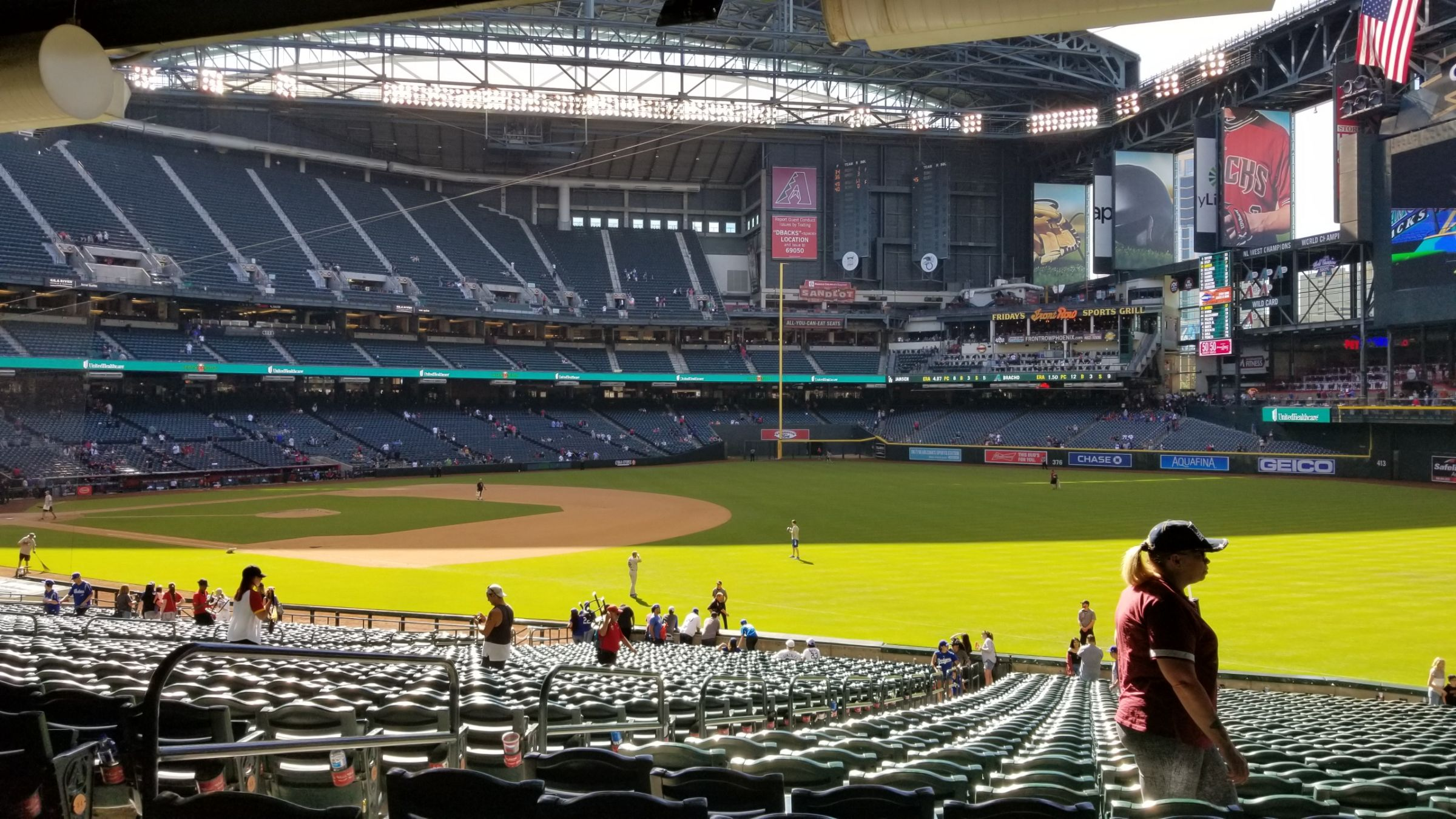 Arizona Diamondbacks Seat View for Chase Field Section 111, Row 38, Seat 14