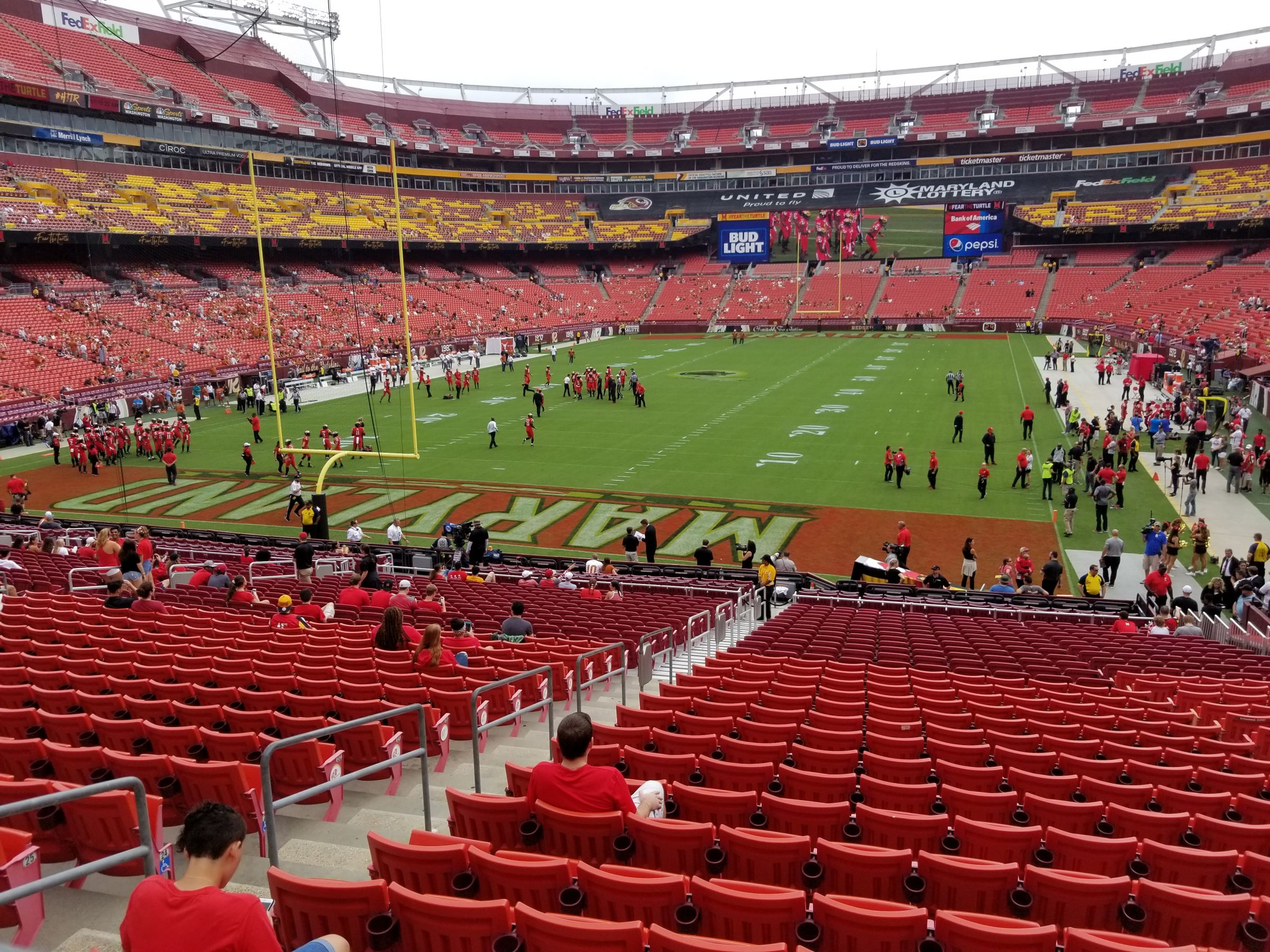 Seat View for FedExField Section 209, Row 1, Seat 18