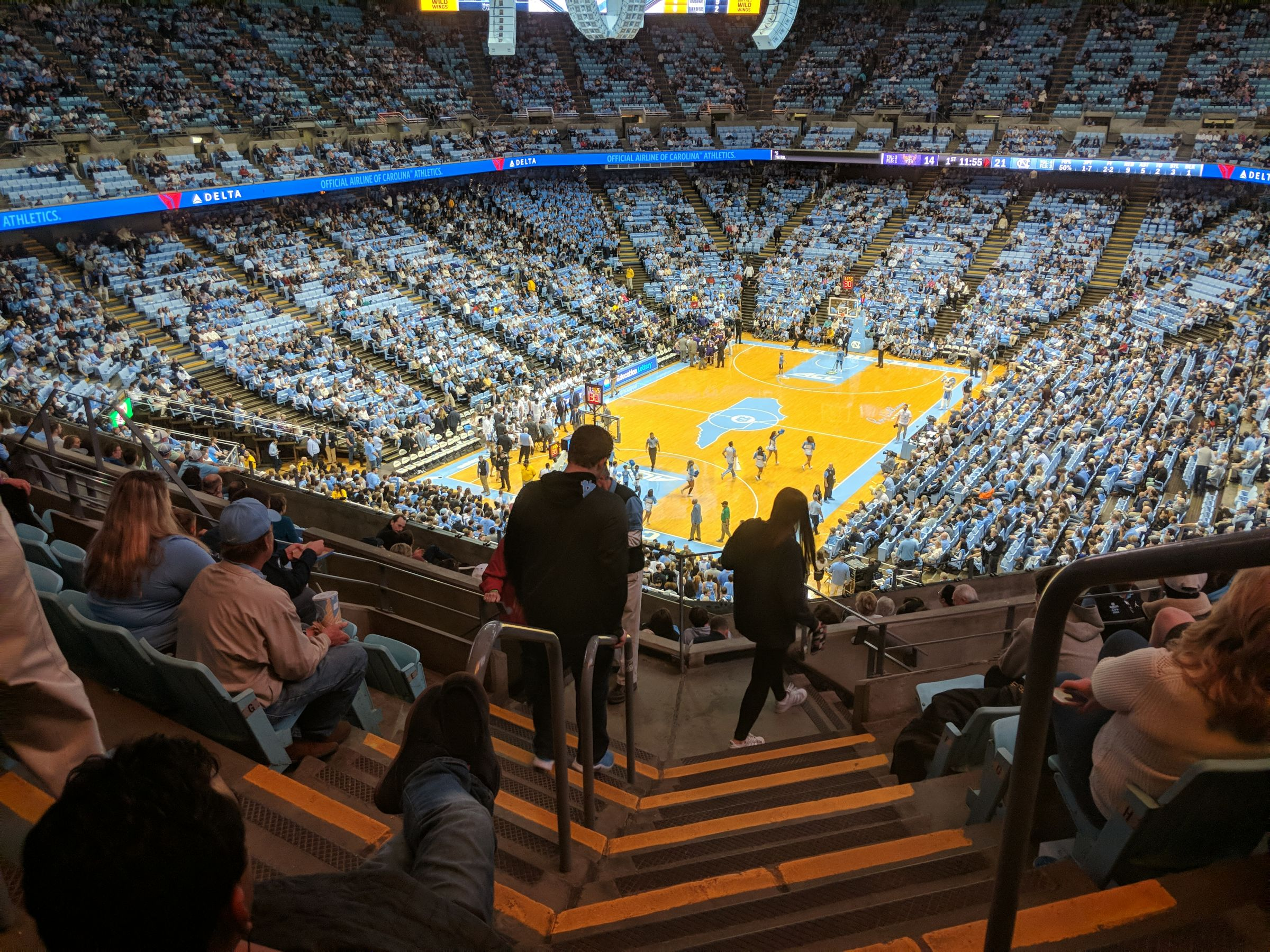 Seat View for Dean Smith Center Section 219A, Row K, Seat 1