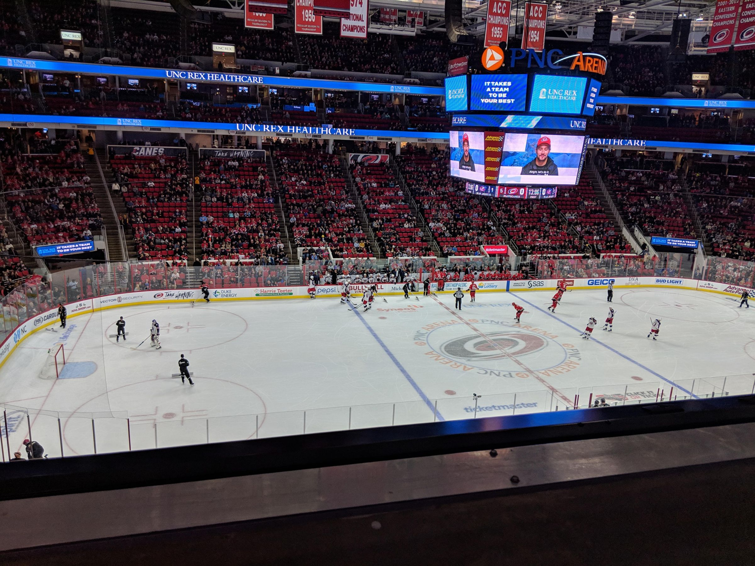 Carolina Hurricanes Seat View for PNC Arena Section 222, Row A, Seat 13