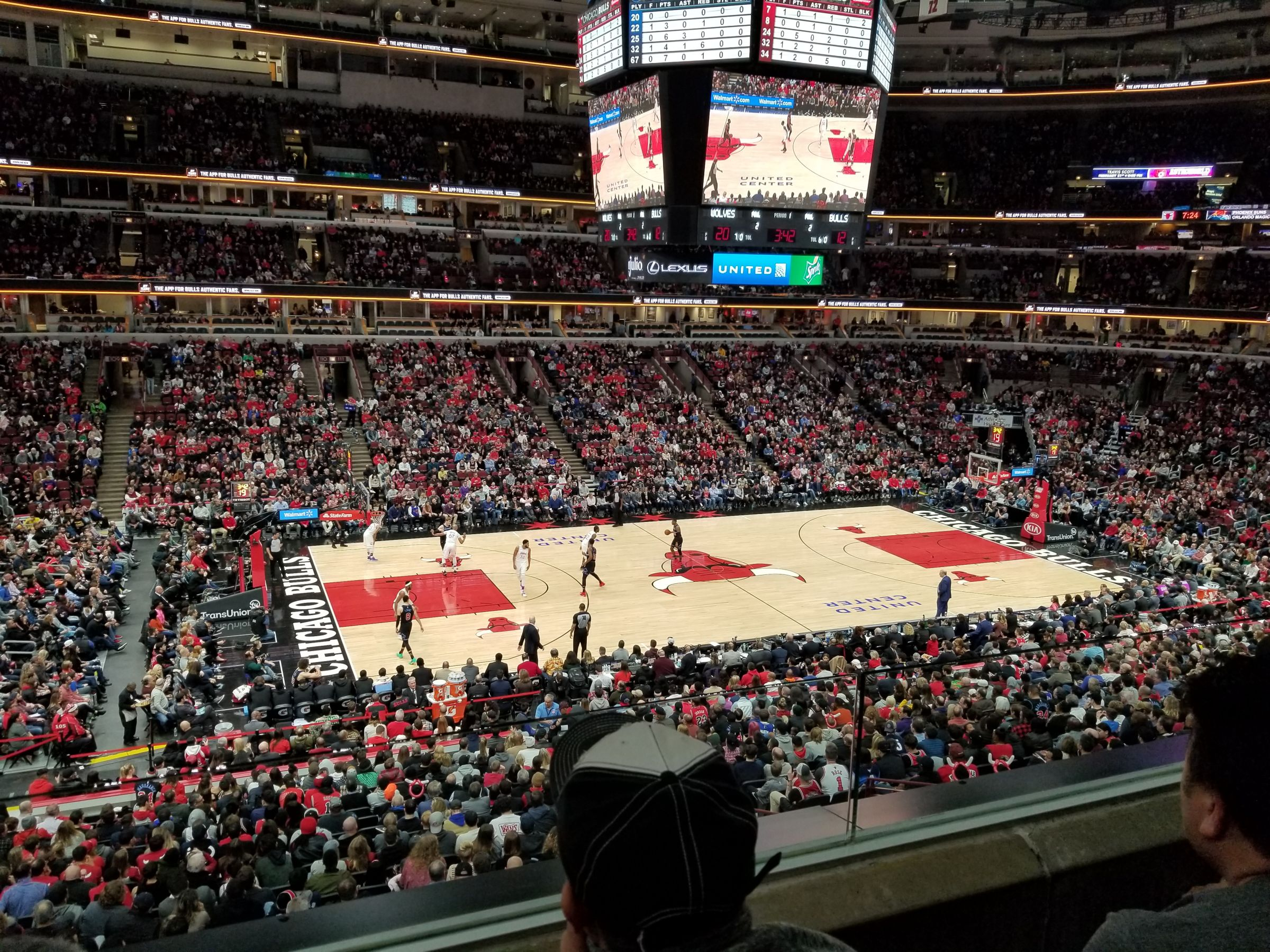 Chicago Bulls Seat View for United Center Section 202, Row 2, Seat 12