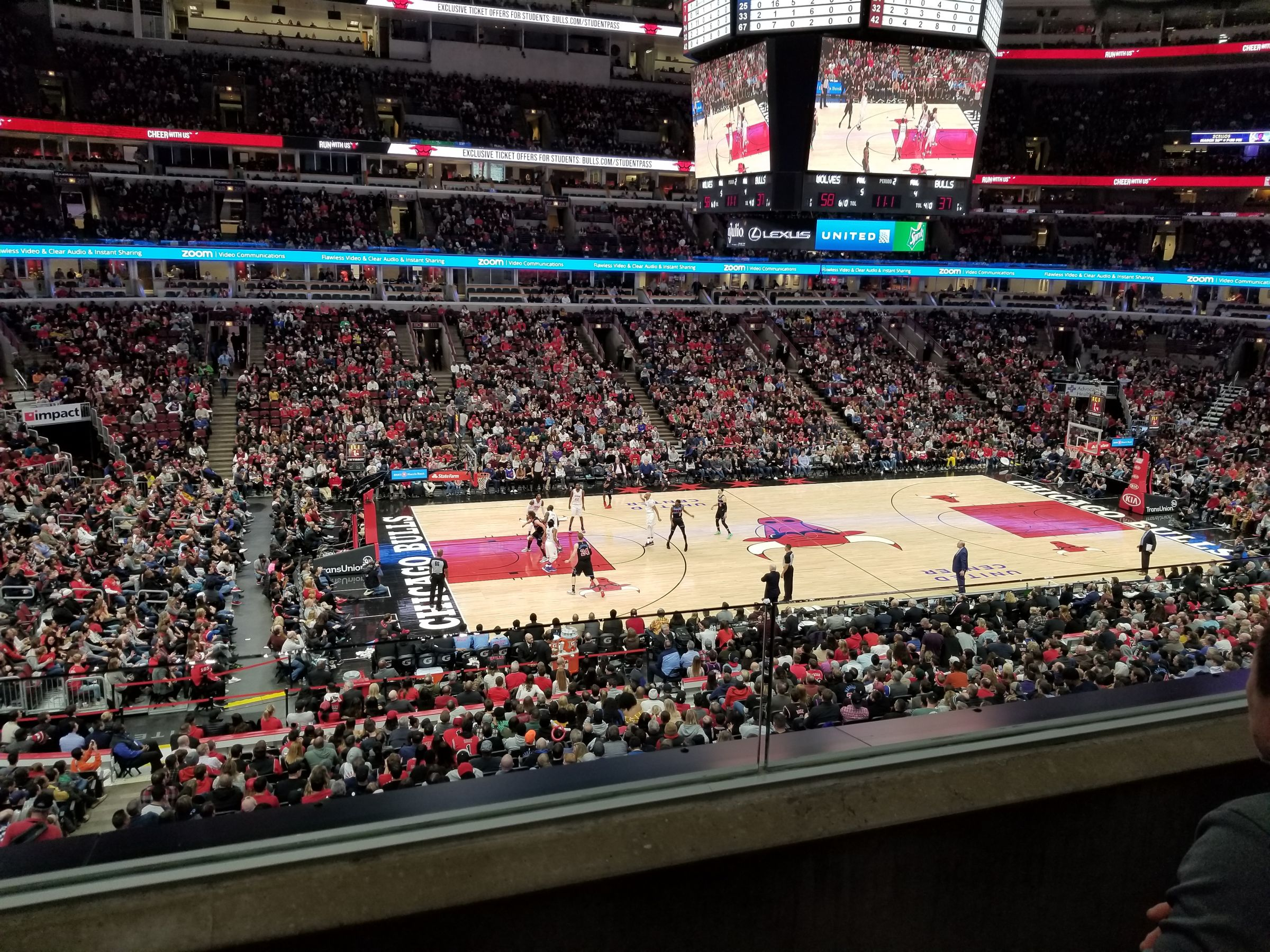 Chicago Bulls Seat View for United Center Section 202, Row 2, Seat 14