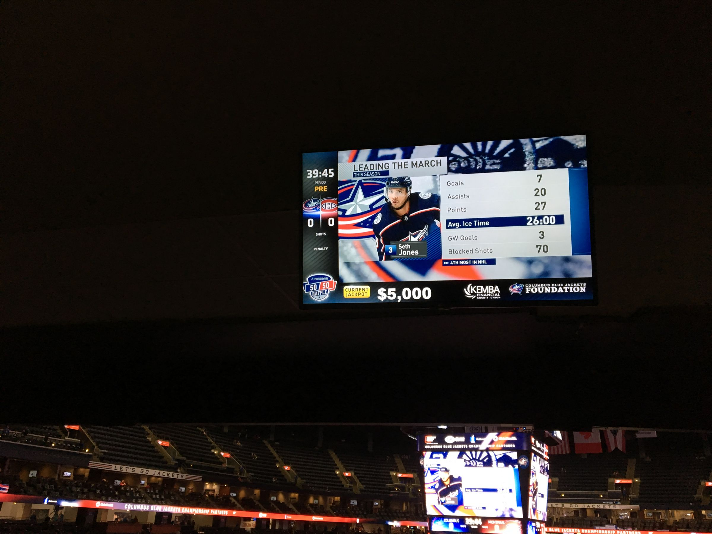Columbus Blue Jackets Seat View for Nationwide Arena Section 119, Row LL, Seat 8
