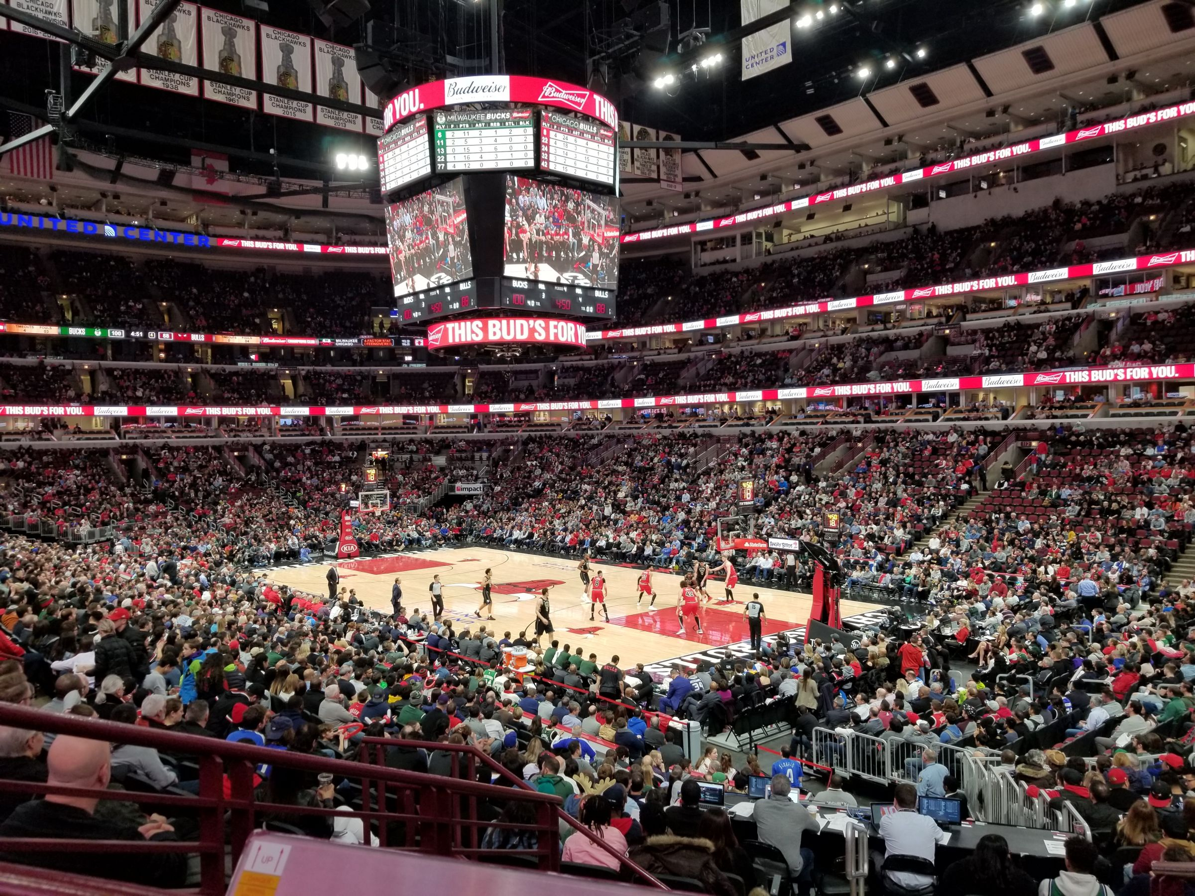 Chicago Bulls Seat View for United Center Section 120, Row 19, Seat 3
