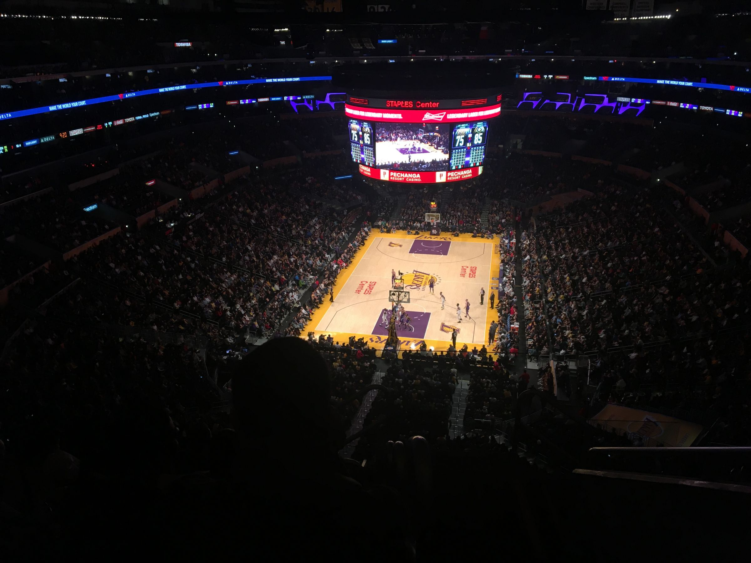 Basketball Seat View for Staples Center Section 309, Row 10, Seat 2