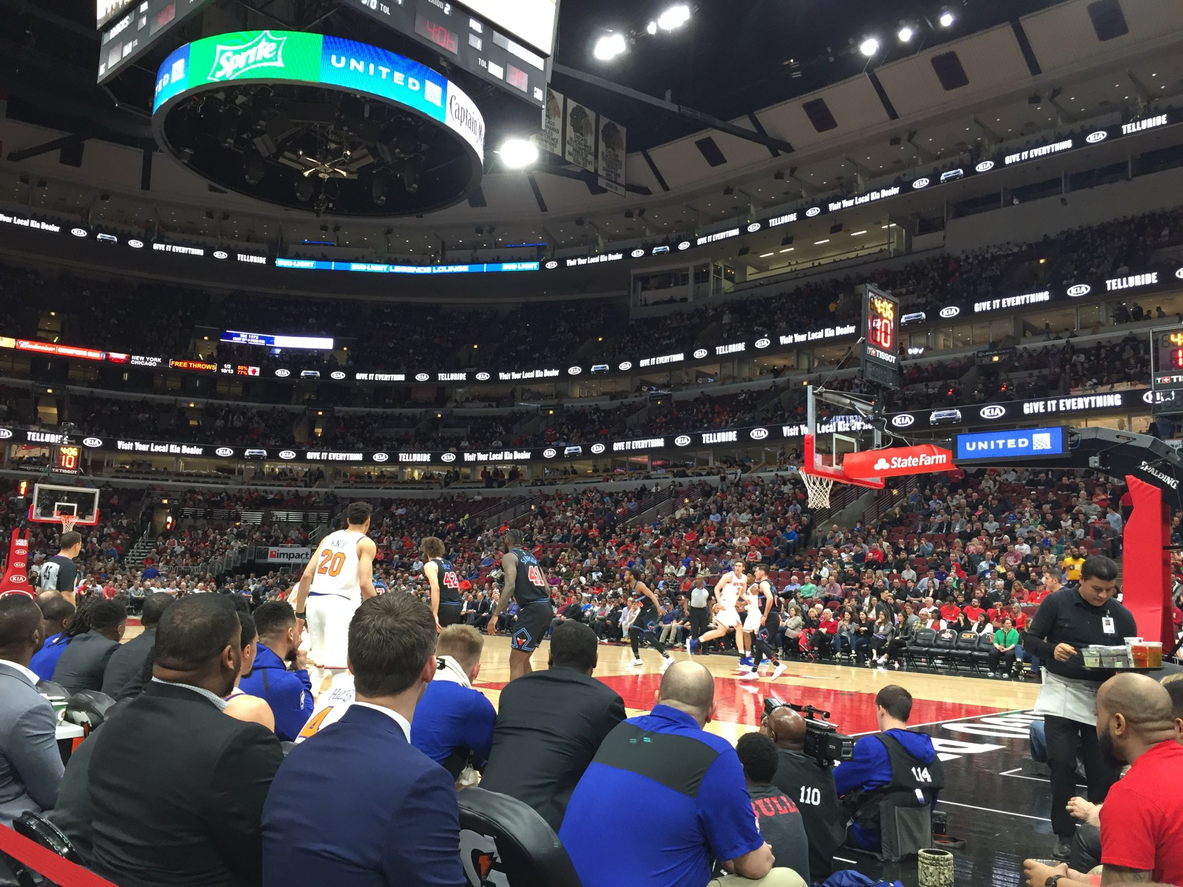 Chicago Bulls Seat View for United Center Section 121, Row A, Seat 3