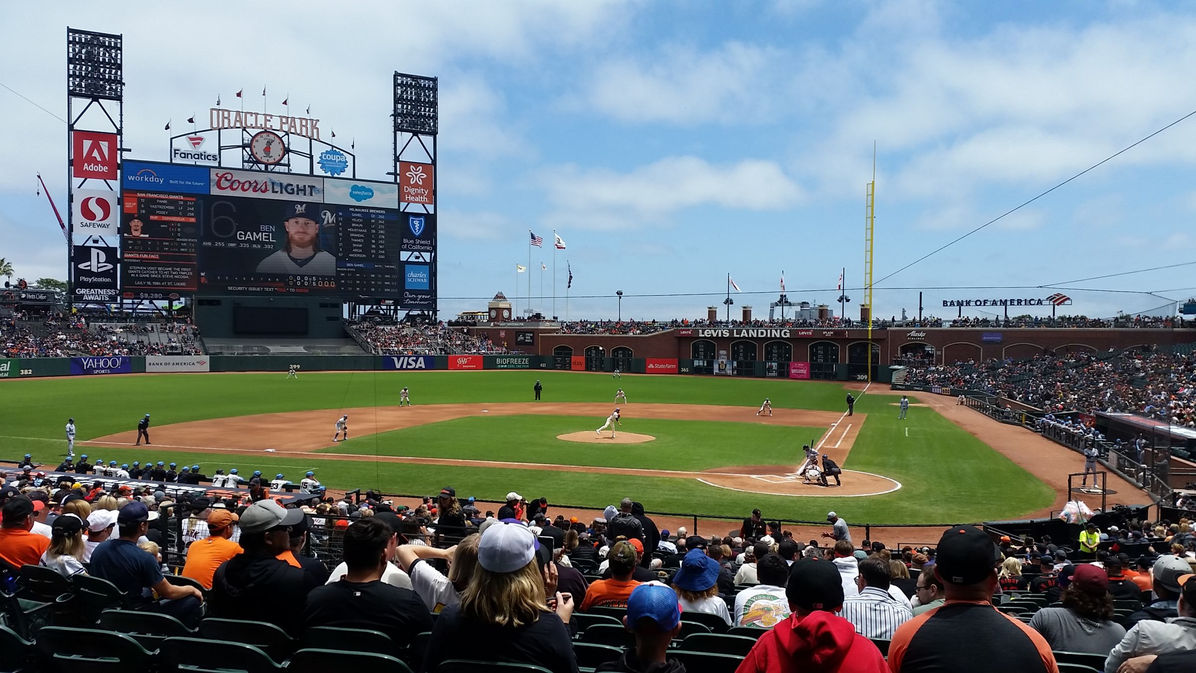 San Francisco Giants Seat View for Oracle Park Section 119, Row 31