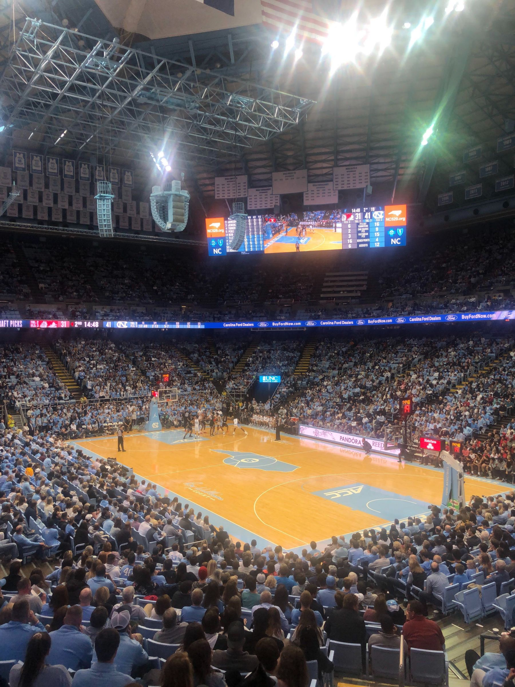 Seat View for Dean Smith Center Section 130, Row Z, Seat 8