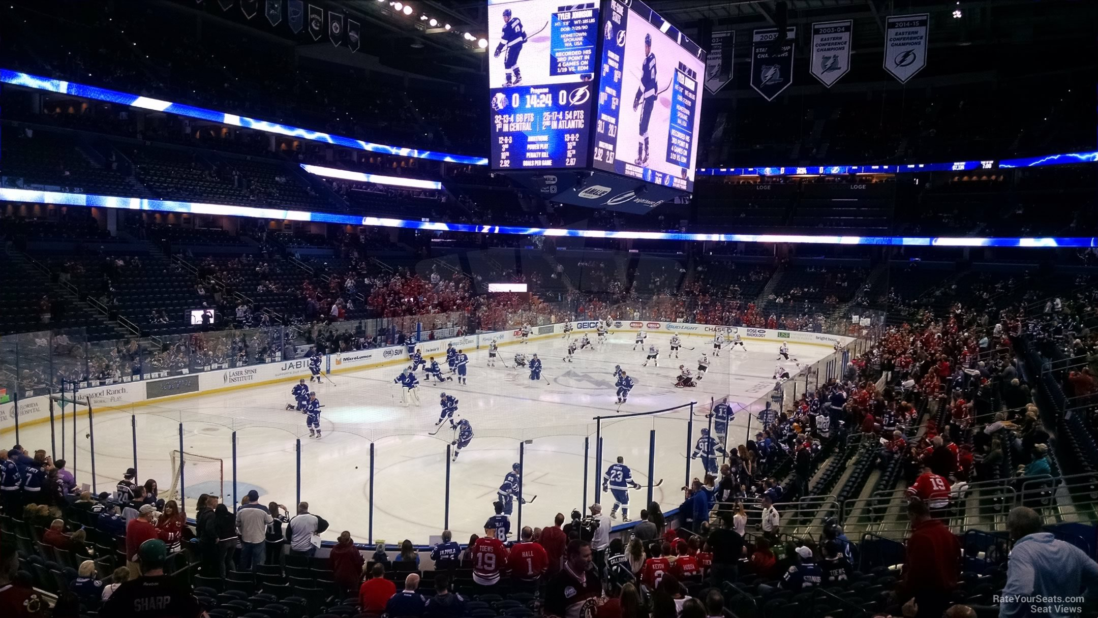 Seat View for Amalie Arena Section 104, Row P