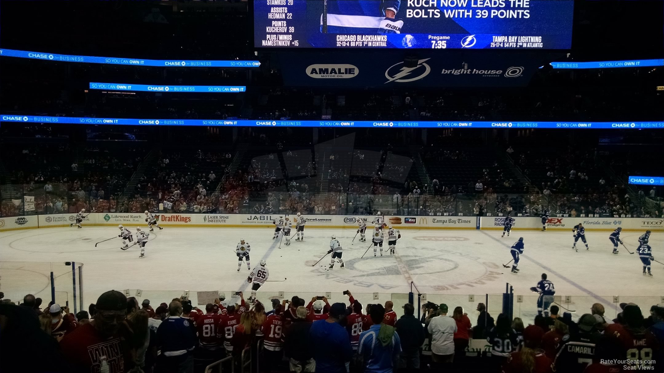 Seat View for Amalie Arena Section 116, Row V