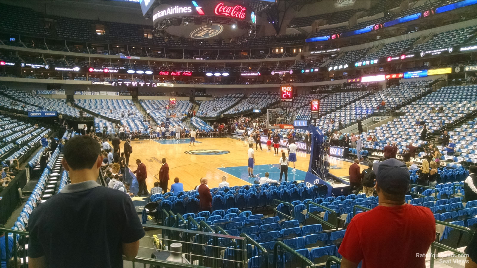 Dallas Mavericks Seat View for American Airlines Center Section 102, Row D