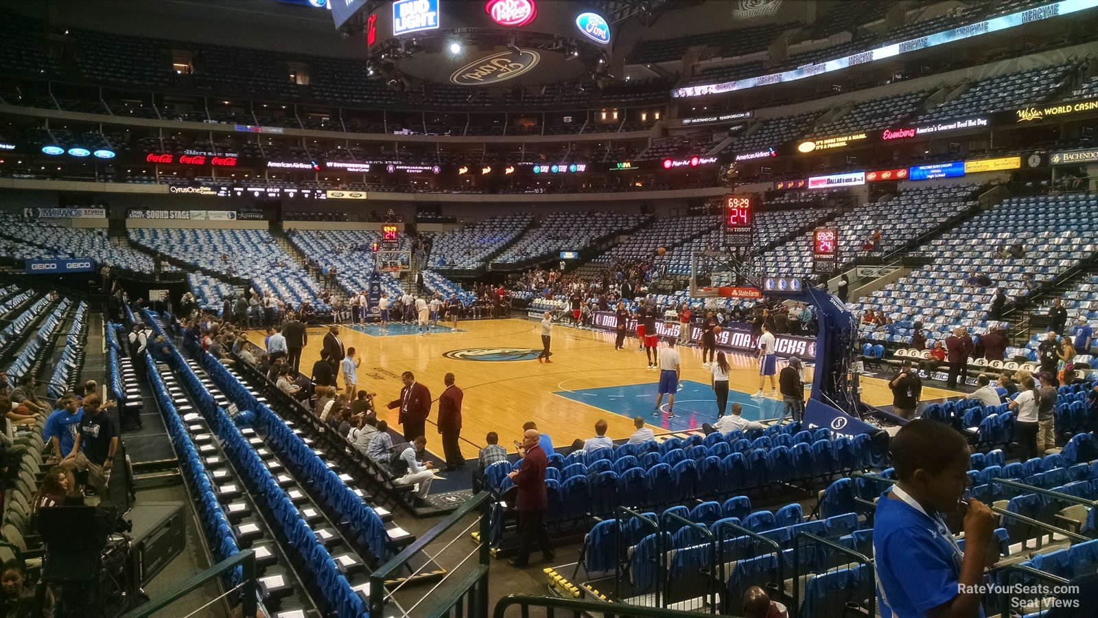 Dallas Mavericks Seat View for American Airlines Center Section 103, Row D