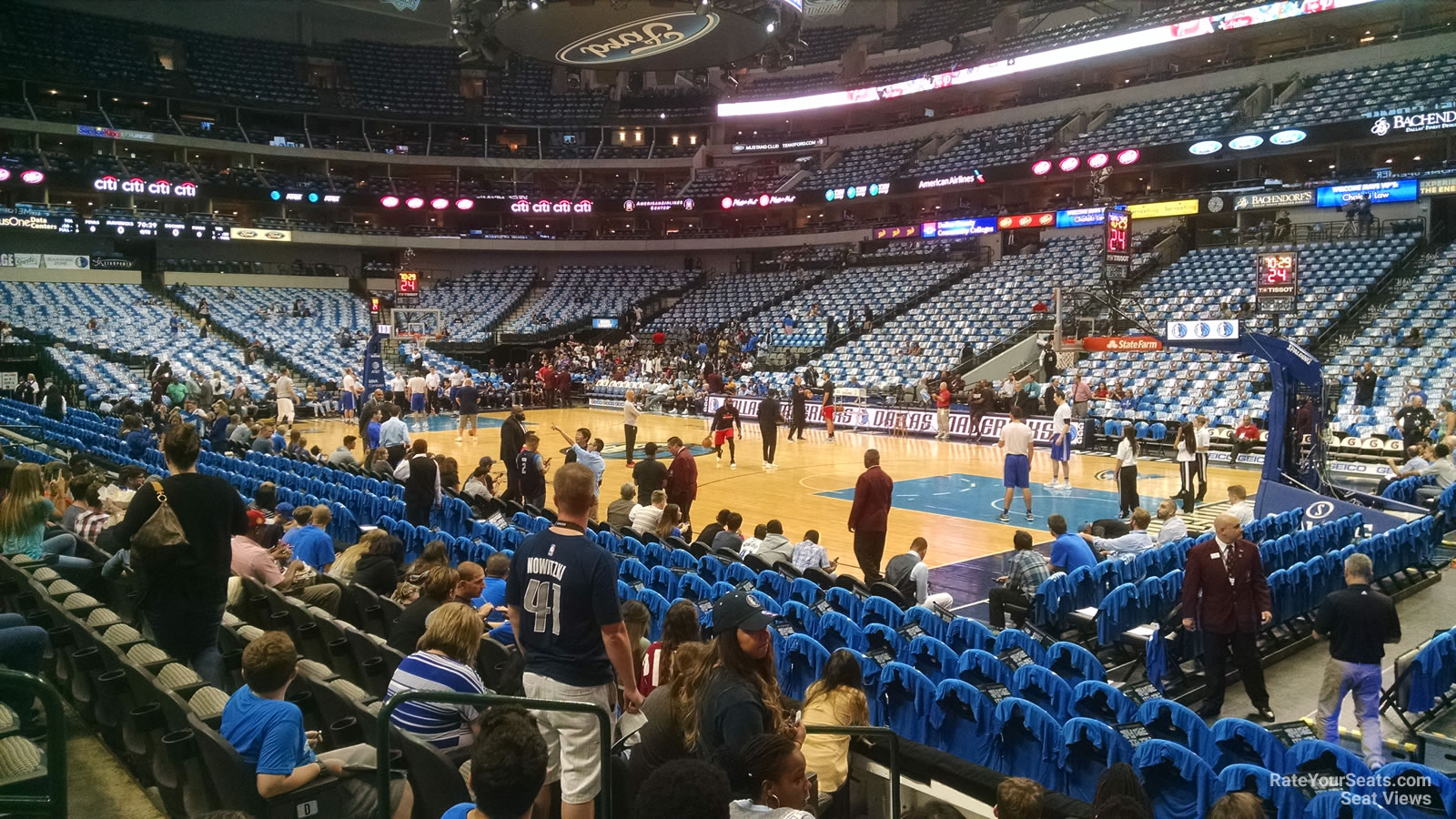 Dallas Mavericks Seat View for American Airlines Center Section 104, Row F