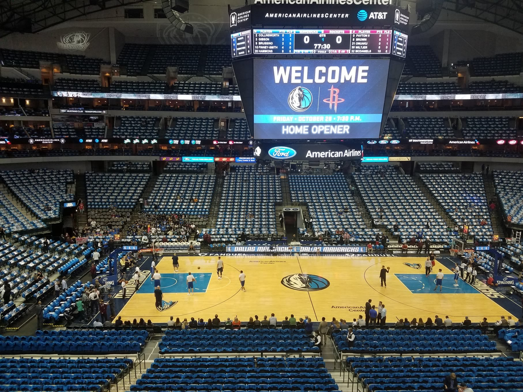 Dallas Mavericks Seat View for American Airlines Center Section 210, Row A