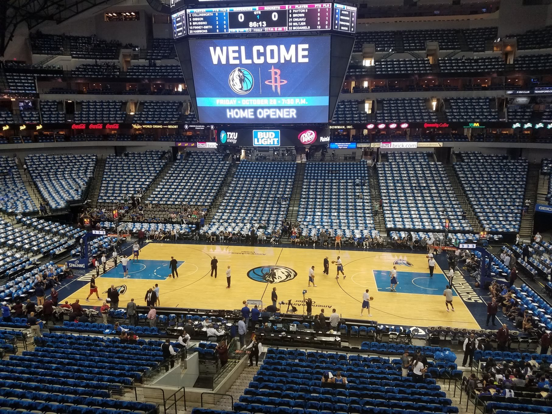 Dallas Mavericks Seat View for American Airlines Center Section 217, Row A