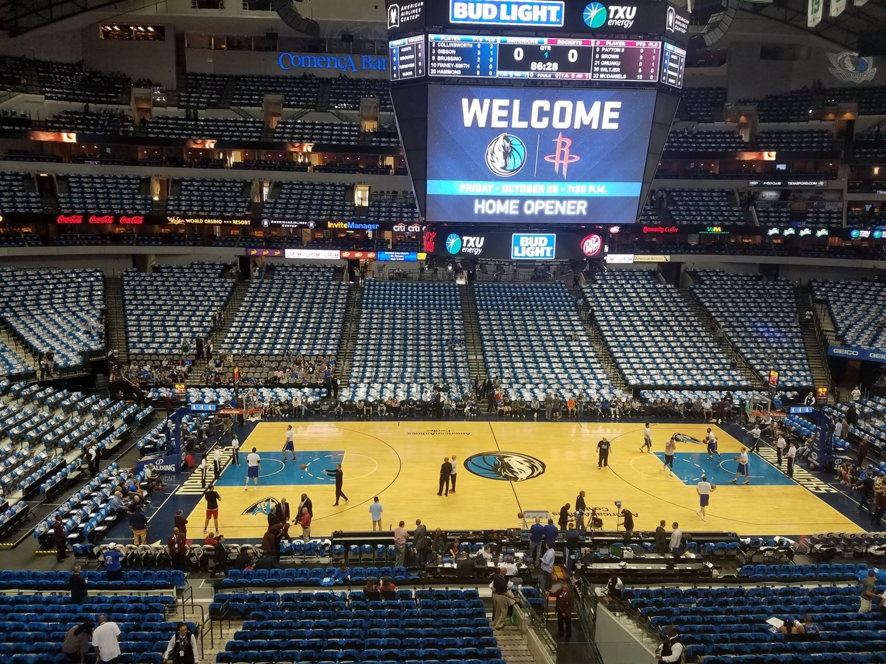 Dallas Mavericks Seat View for American Airlines Center Section 218, Row A