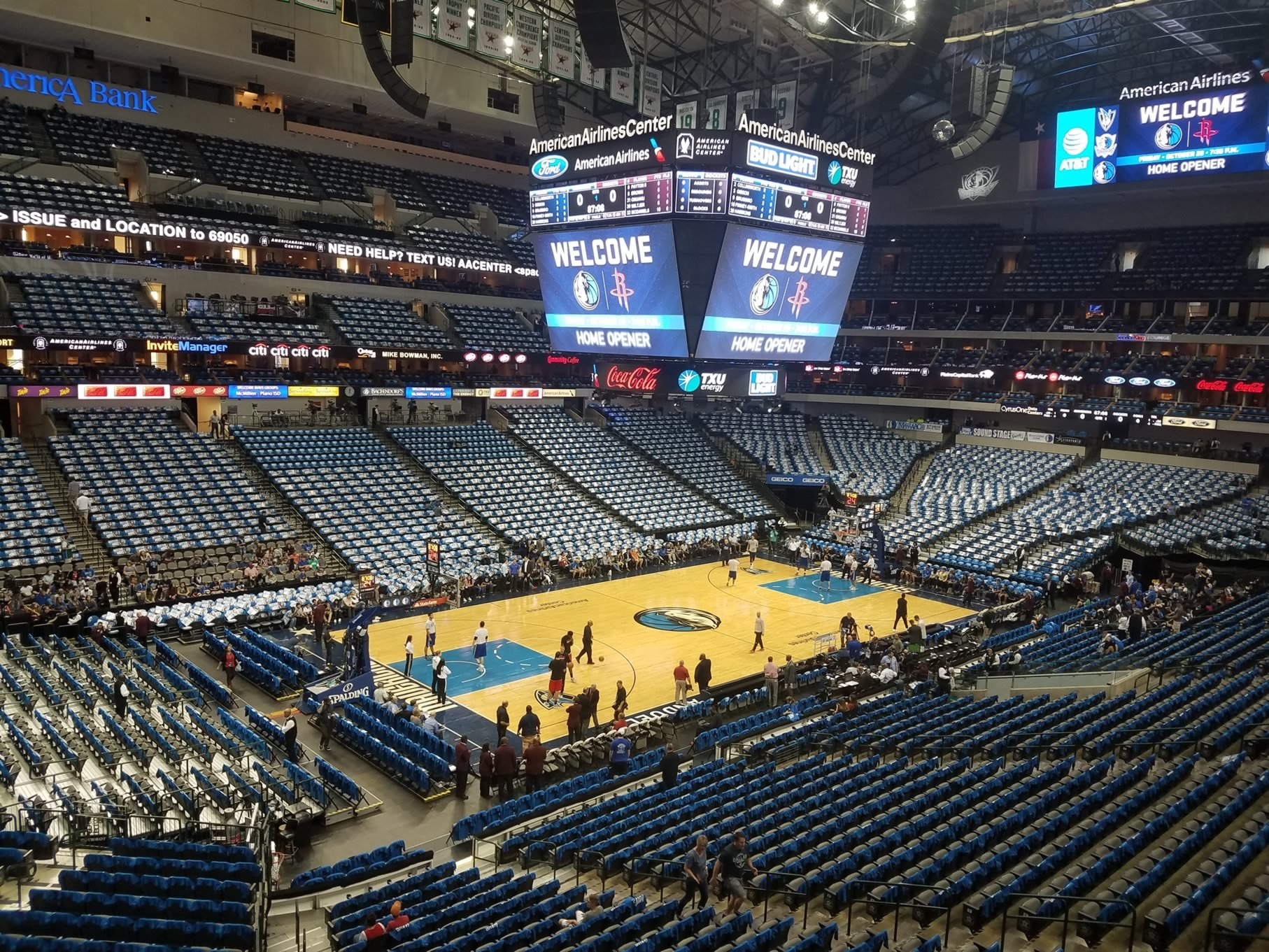 Dallas Mavericks Seat View for American Airlines Center Section 221, Row A
