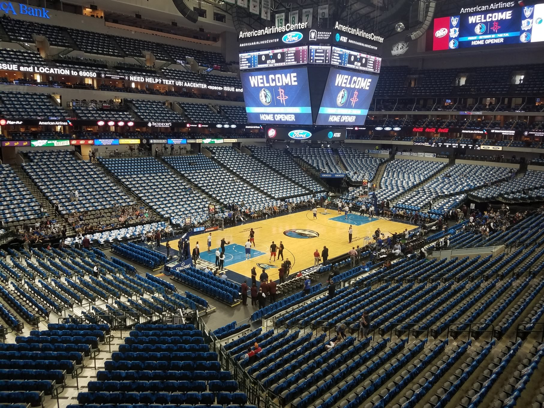Dallas Mavericks Seat View for American Airlines Center Section 222, Row A