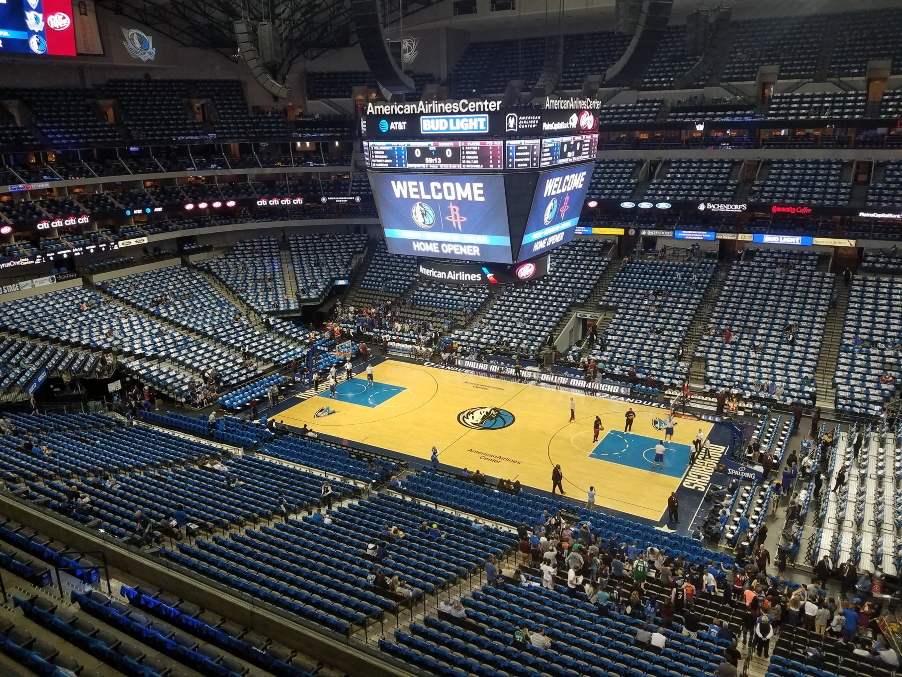 Dallas Mavericks Seat View for American Airlines Center Section 307, Row A