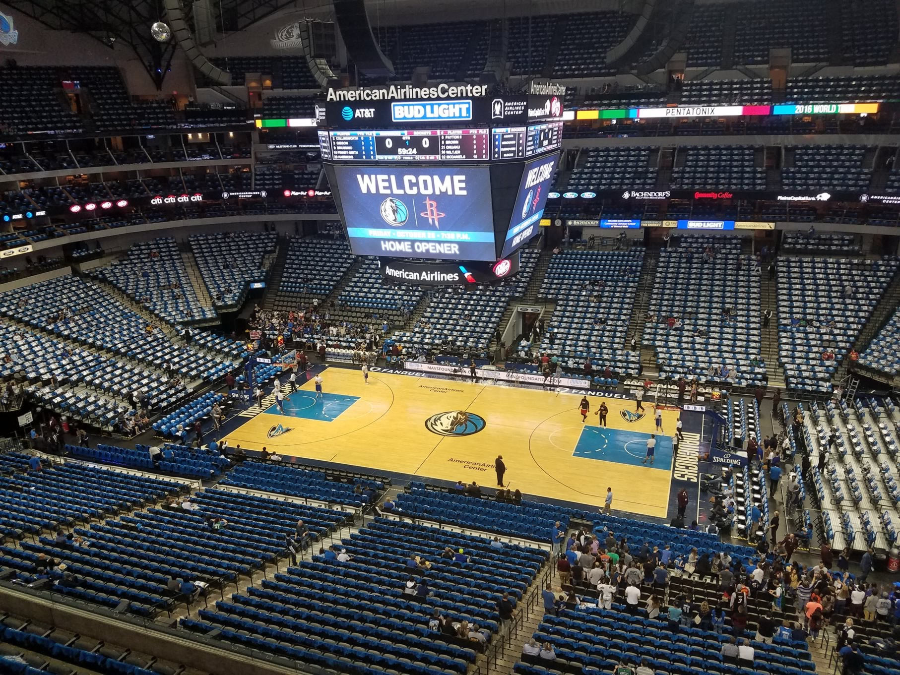 Dallas Mavericks Seat View for American Airlines Center Section 308, Row A