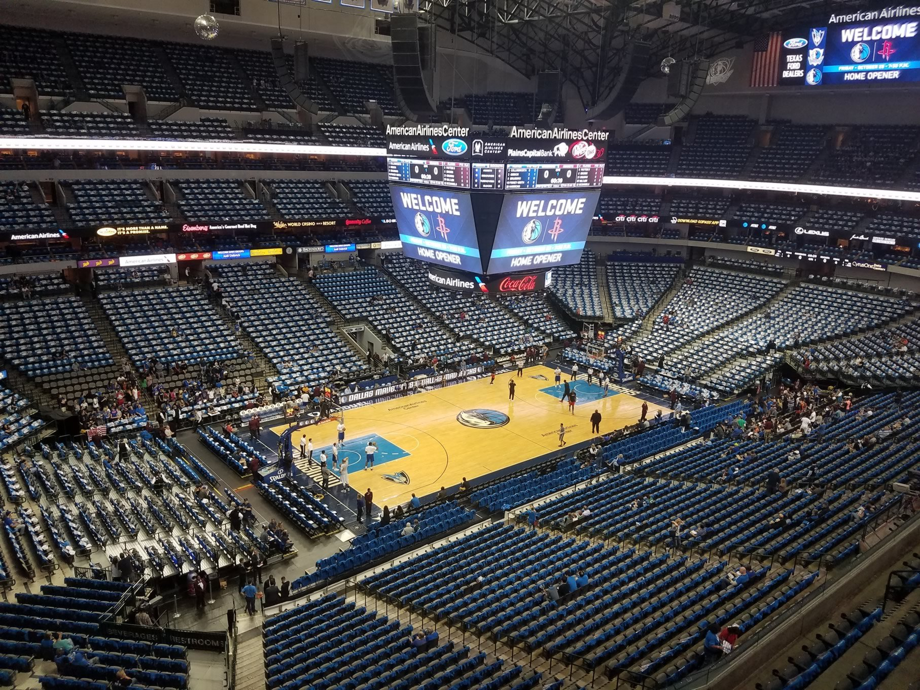 Dallas Mavericks Seat View for American Airlines Center Section 313, Row A