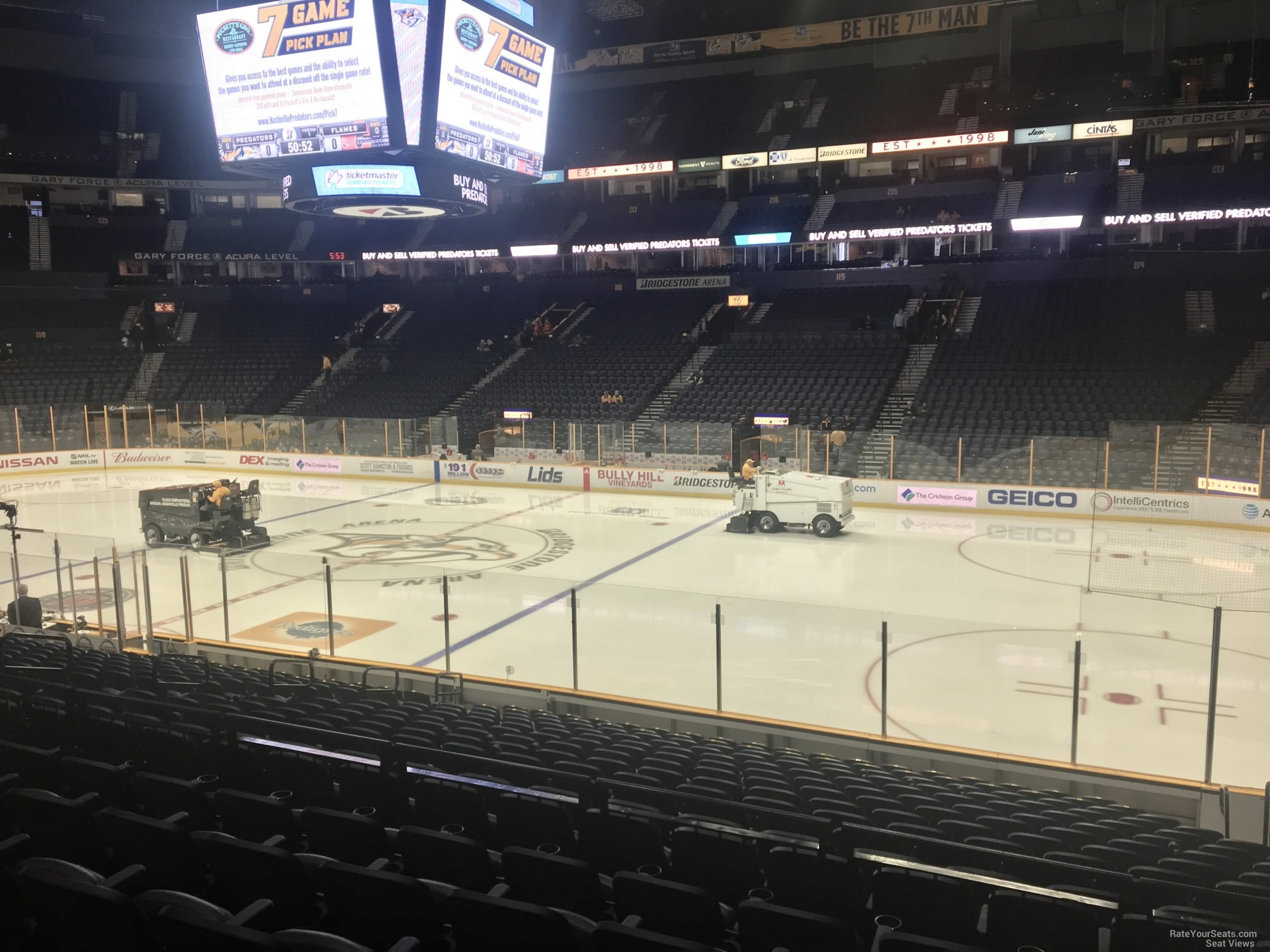 Nashville Predators Seat View for Bridgestone Arena Section 107, Row F