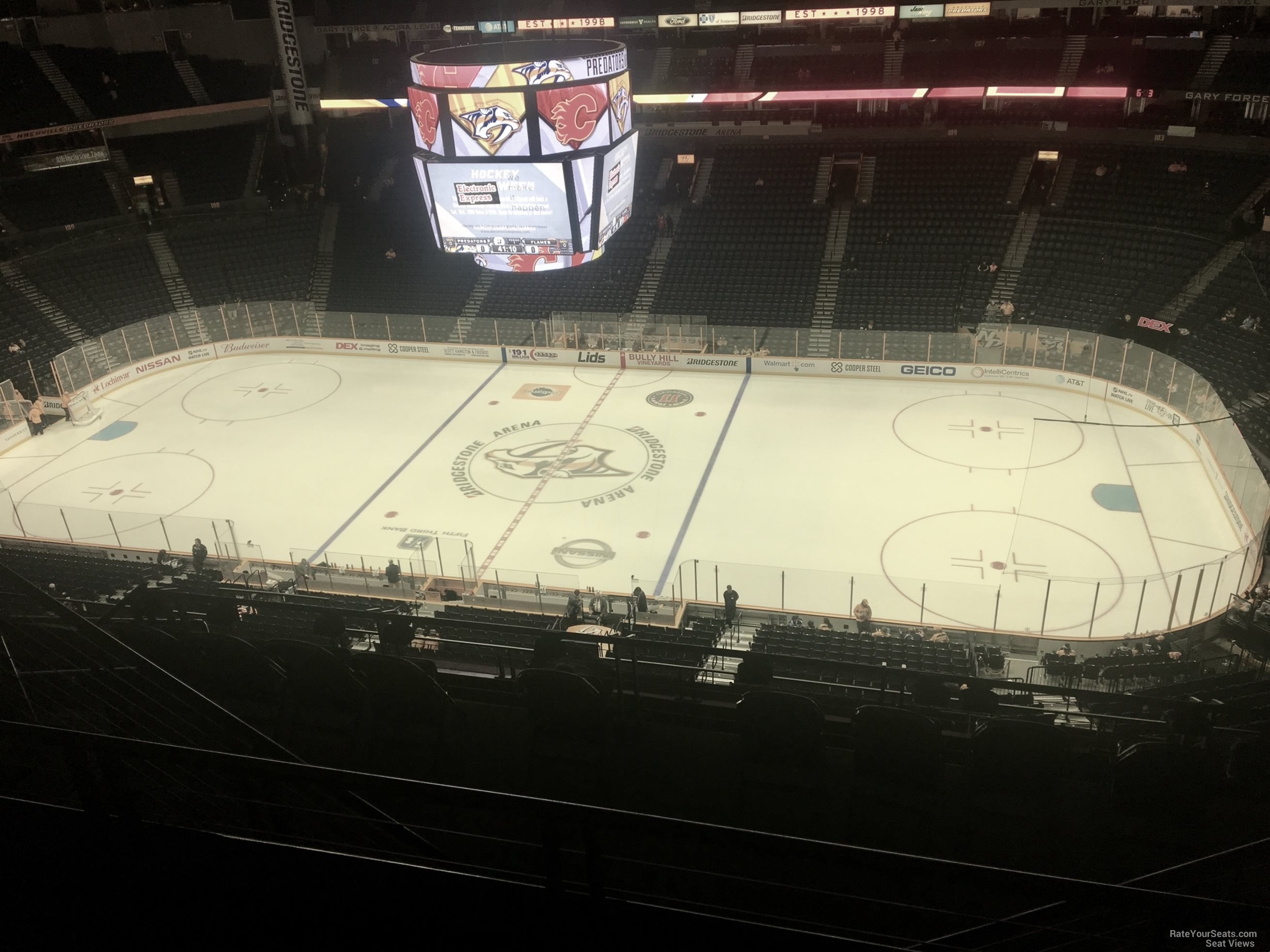 Nashville Predators Seat View for Bridgestone Arena Section 327, Row J