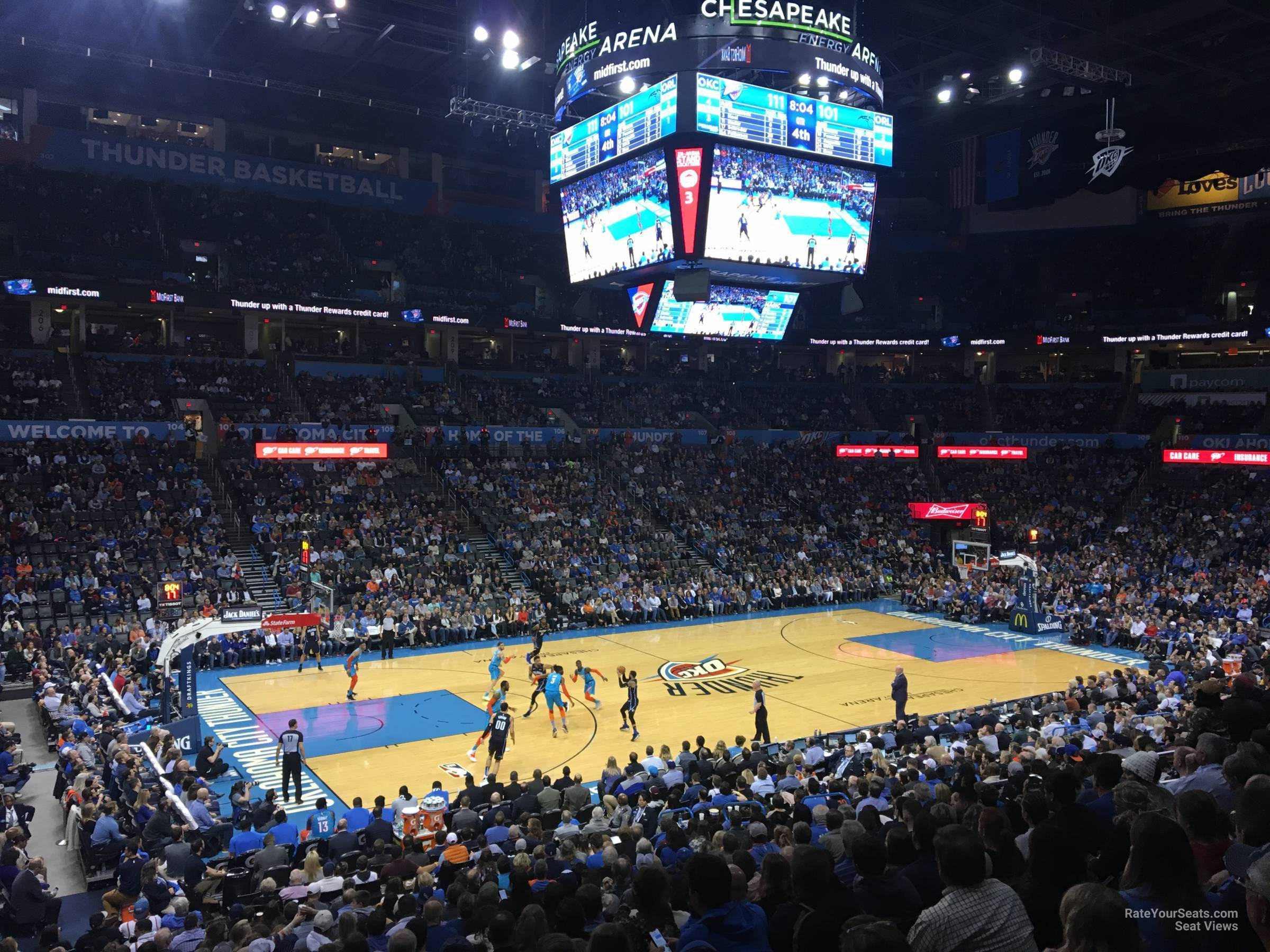 Seat View for Chesapeake Energy Arena Section 117, Row U