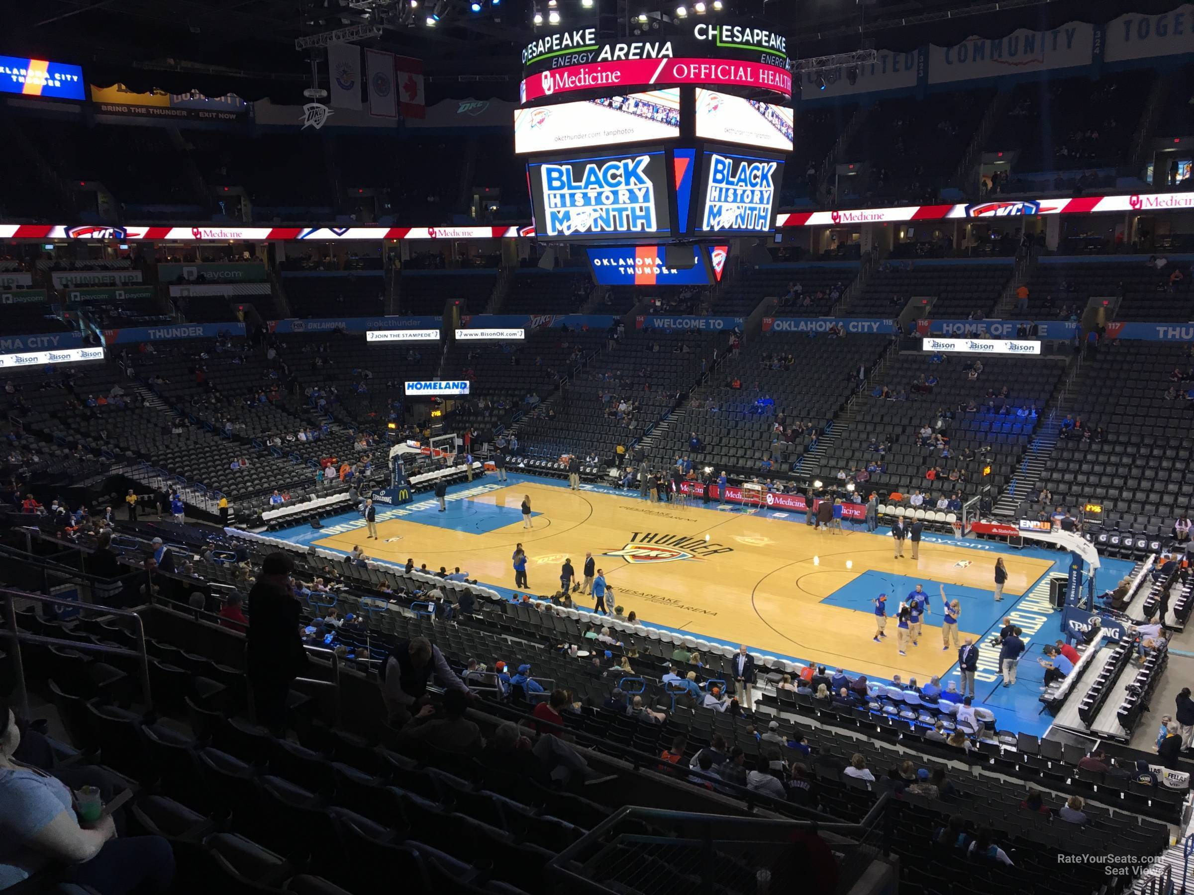 Seat View for Chesapeake Energy Arena Section 206, Row H