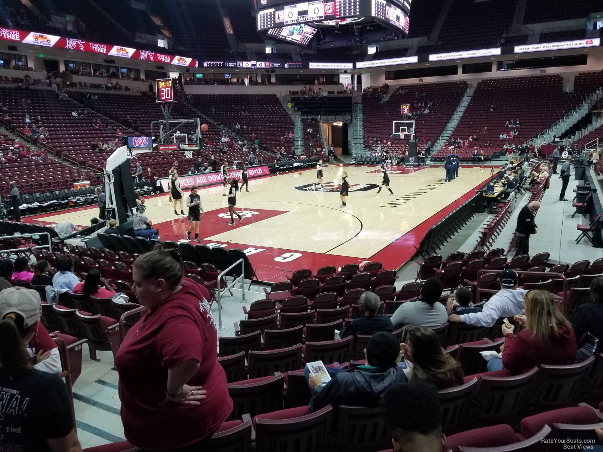 Seat View for Colonial Life Arena Section 117, Row 6