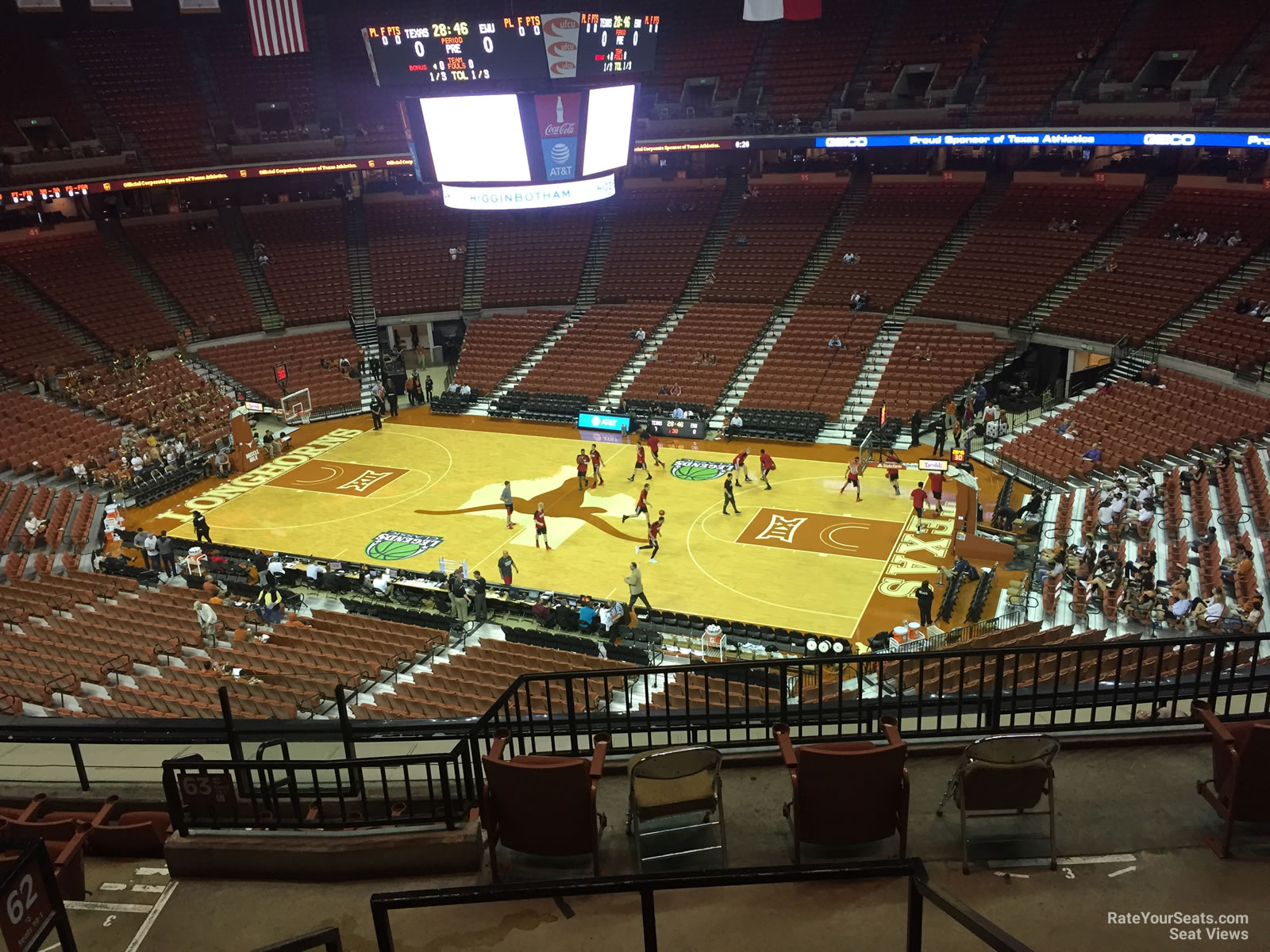 Seat View for Frank Erwin Center Section 63, Row 8