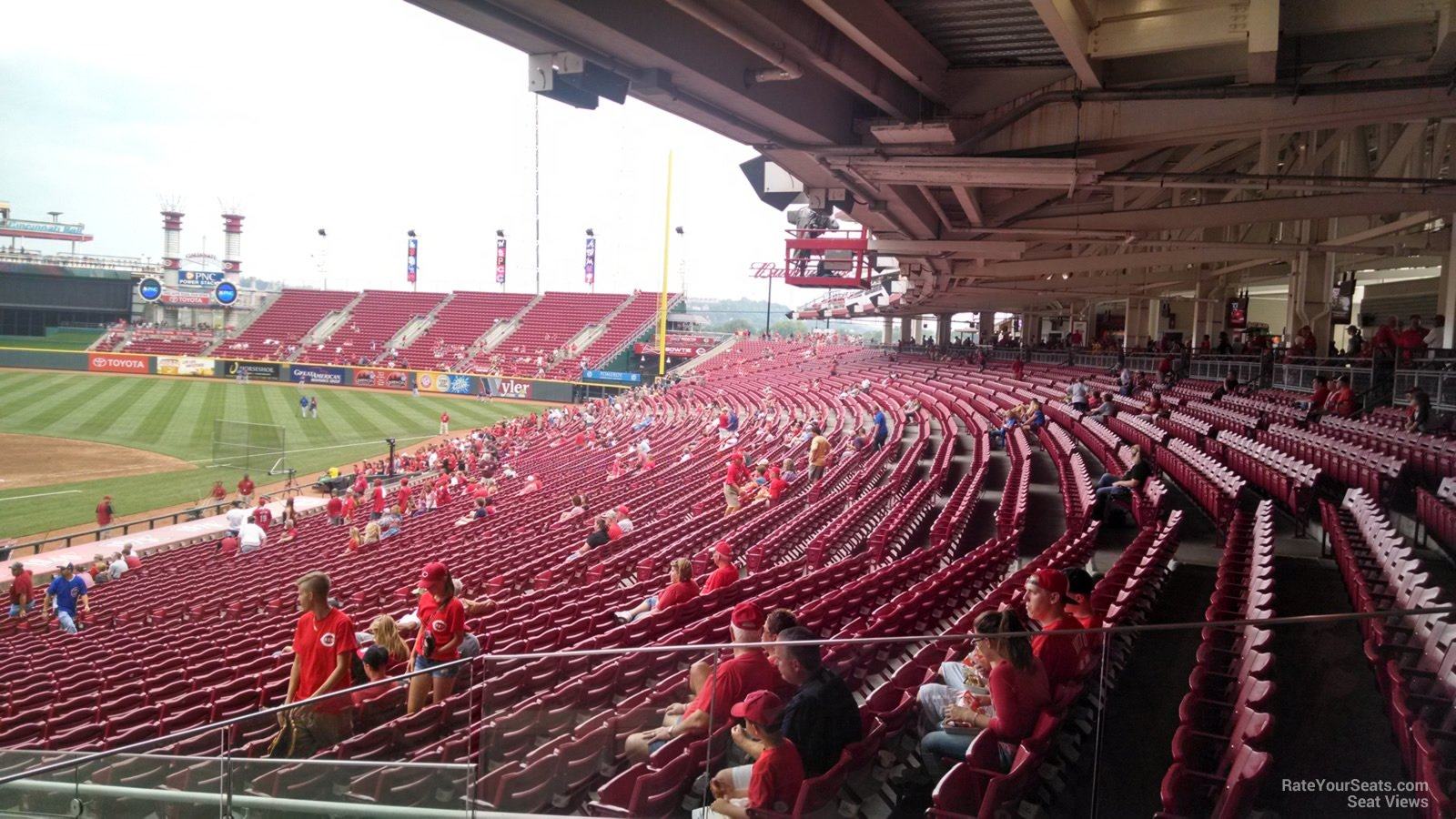 Covered seating down the first base line at Great American Ball Park