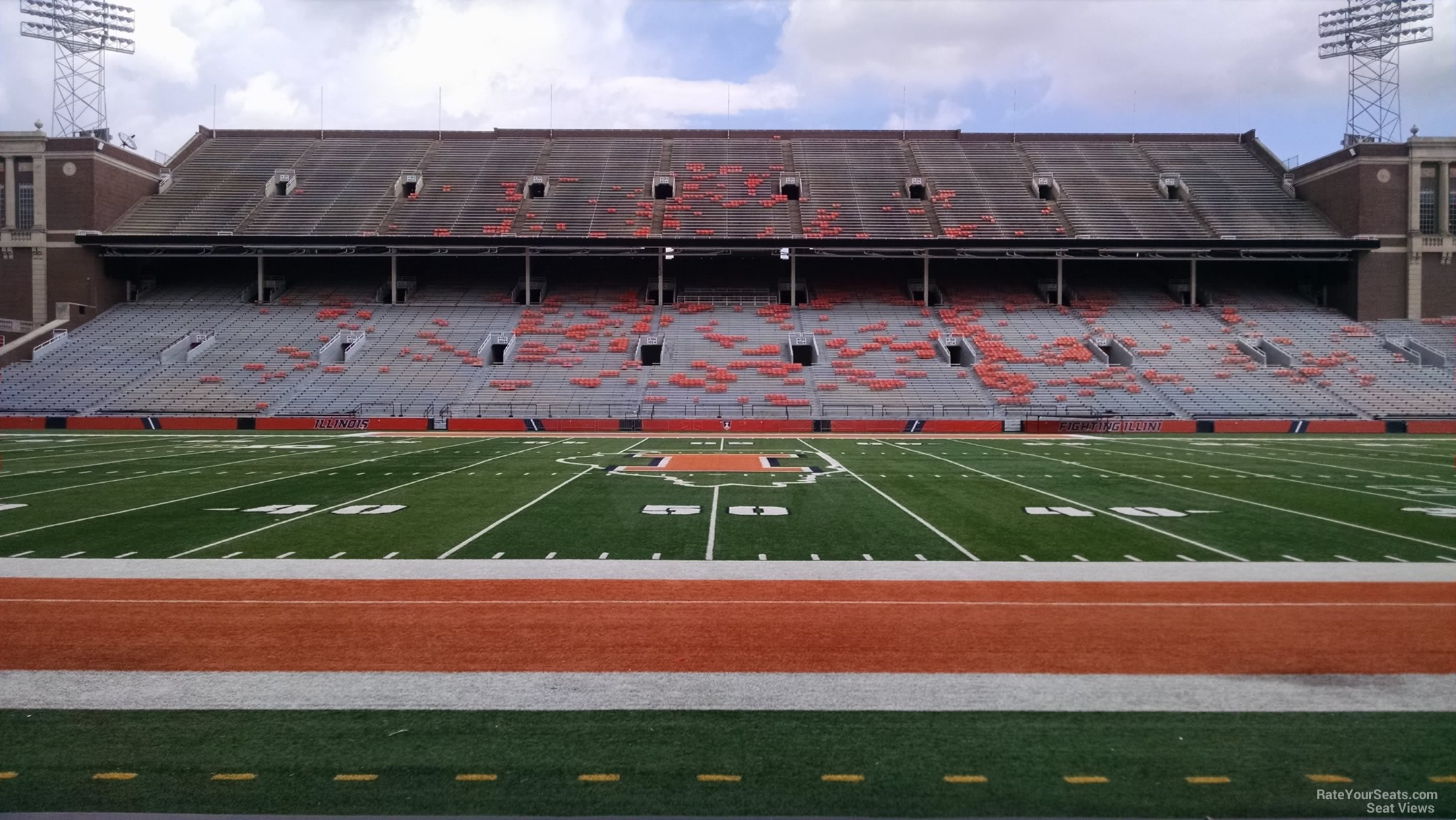 Seat View for Memorial Stadium - IL Section 127, Row 7