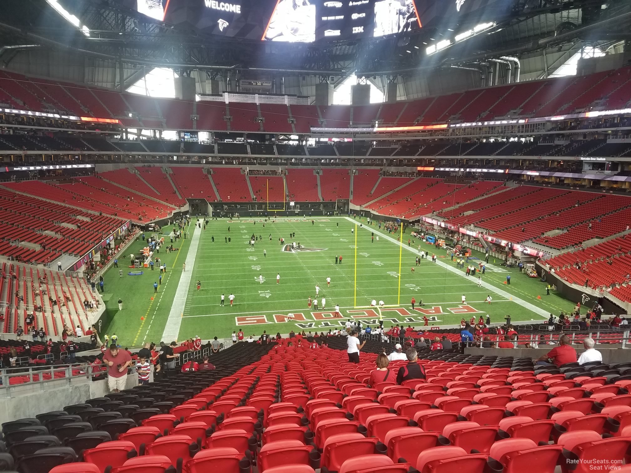 Mercedes benz stadium section 102 atlanta falcons for Mercedes benz seat view