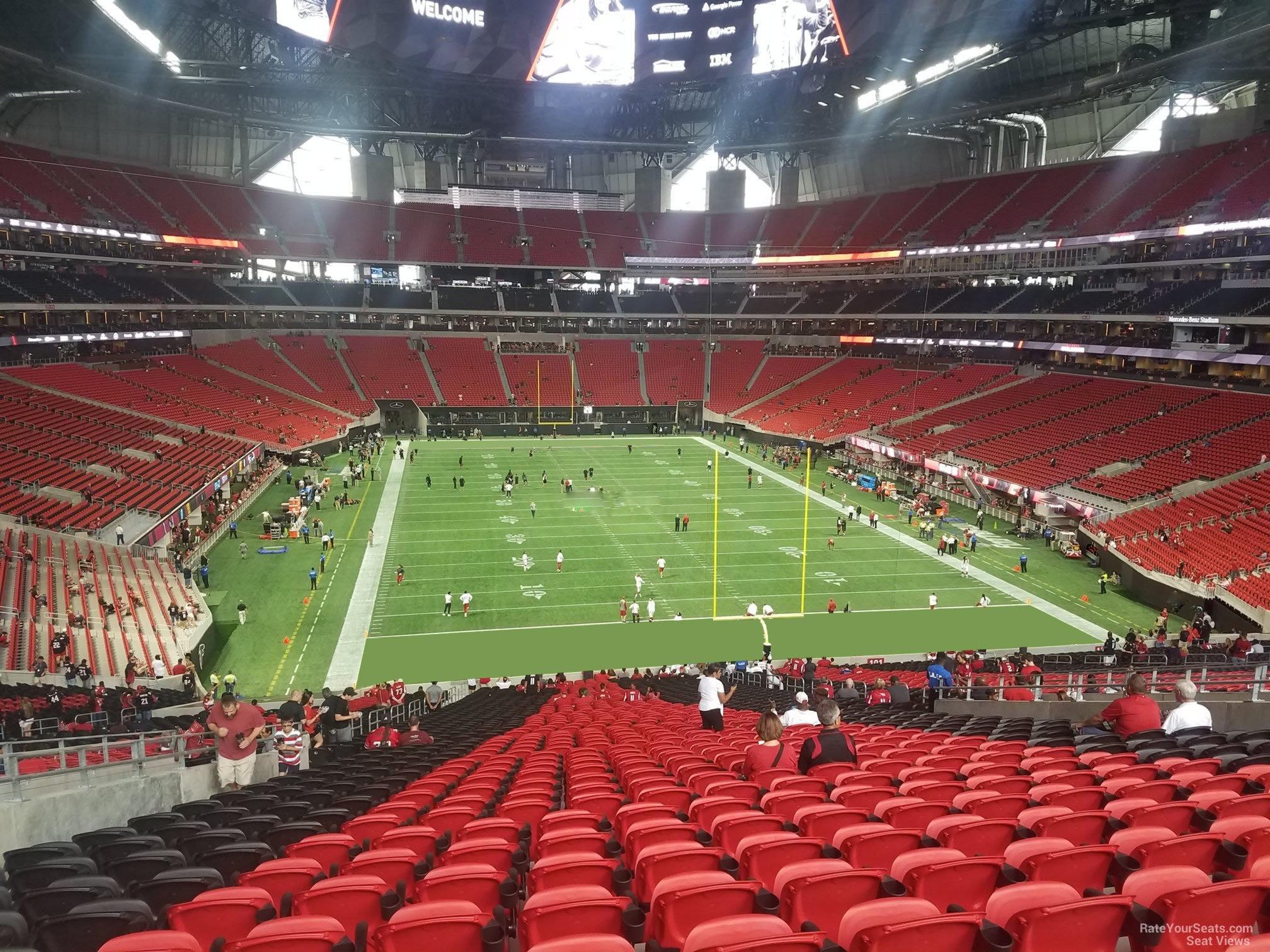 Mercedes benz stadium section 102 atlanta falcons for Mercedes benz stadium seat view